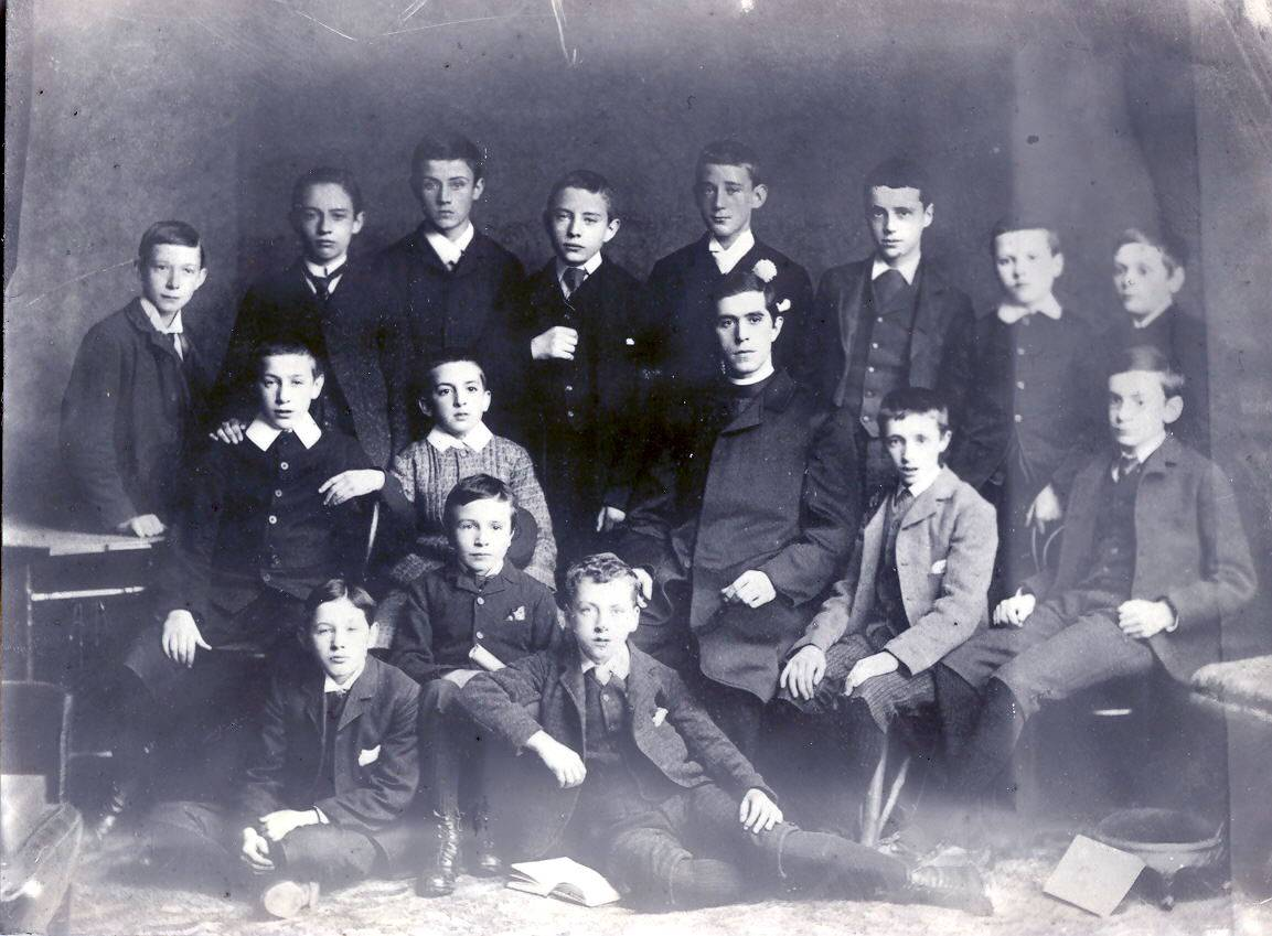 Group of Intermediate Certificate students, Westland Row CBS, 1893. Pearse is seated on the extreme right. OPW.