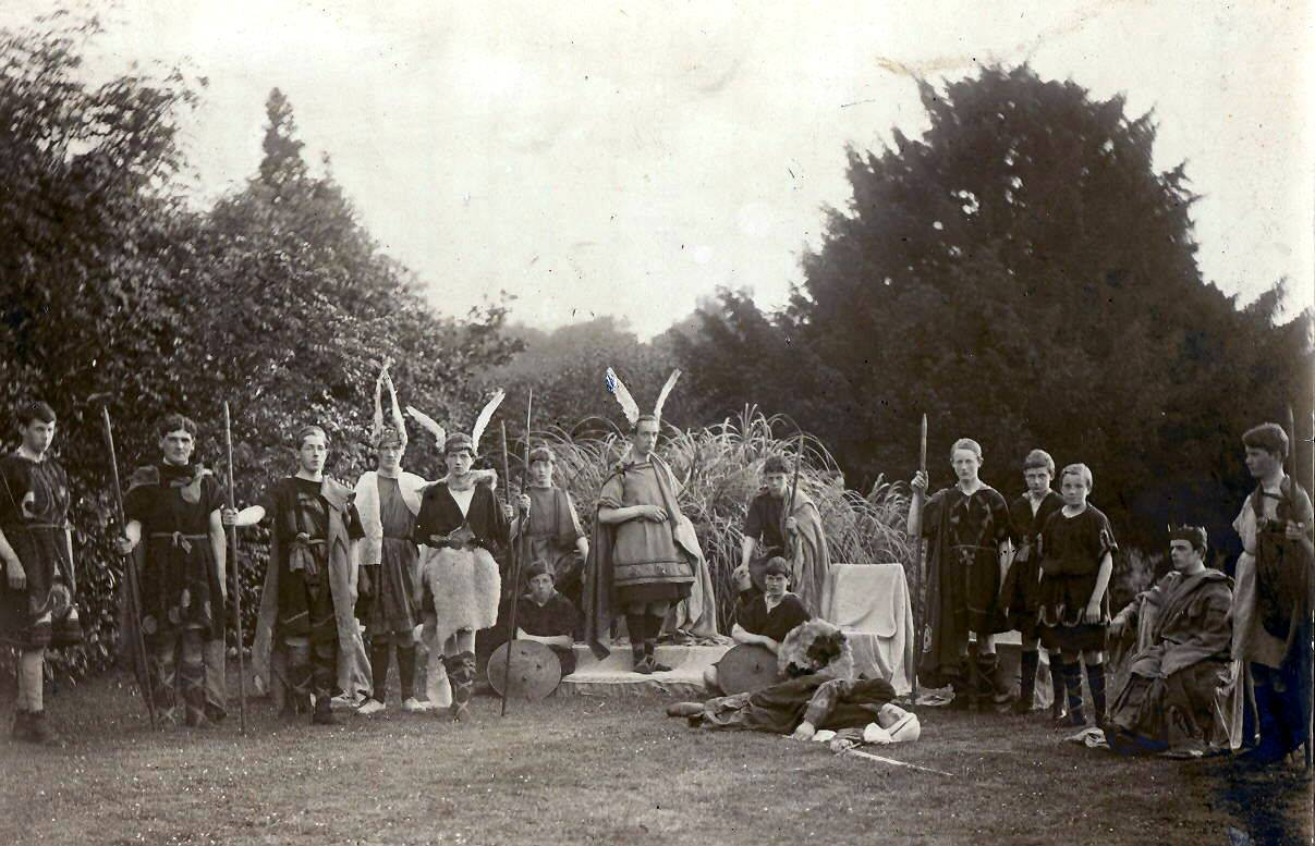 William Pearse, centre, and some St Enda's pupils performing Fionn, A Dramatic Spectacle in the school grounds. OPW.